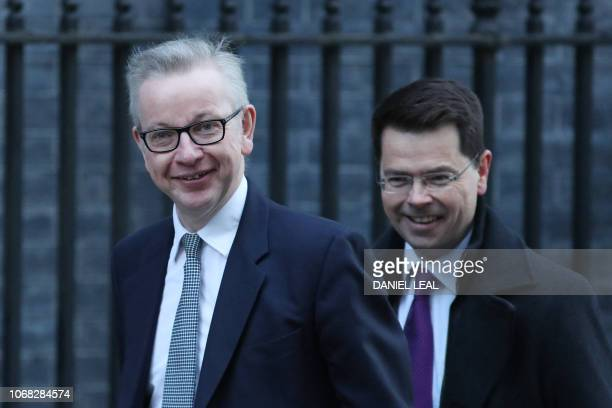 Britain's Environment Food and Rural Affairs Secretary Michael Gove and Britain's Housing Communities and Local Government Secretary James...
