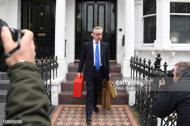 TOPSHOT Britain's Environment Food and Rural Affairs Secretary Michael Gove leaves his residence in west London on March 28 2019
