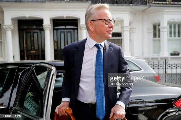 Britain's Environment Food and Rural Affairs Secretary Michael Gove leaves his home in London on June 18 2019 The six contenders left in the race to...