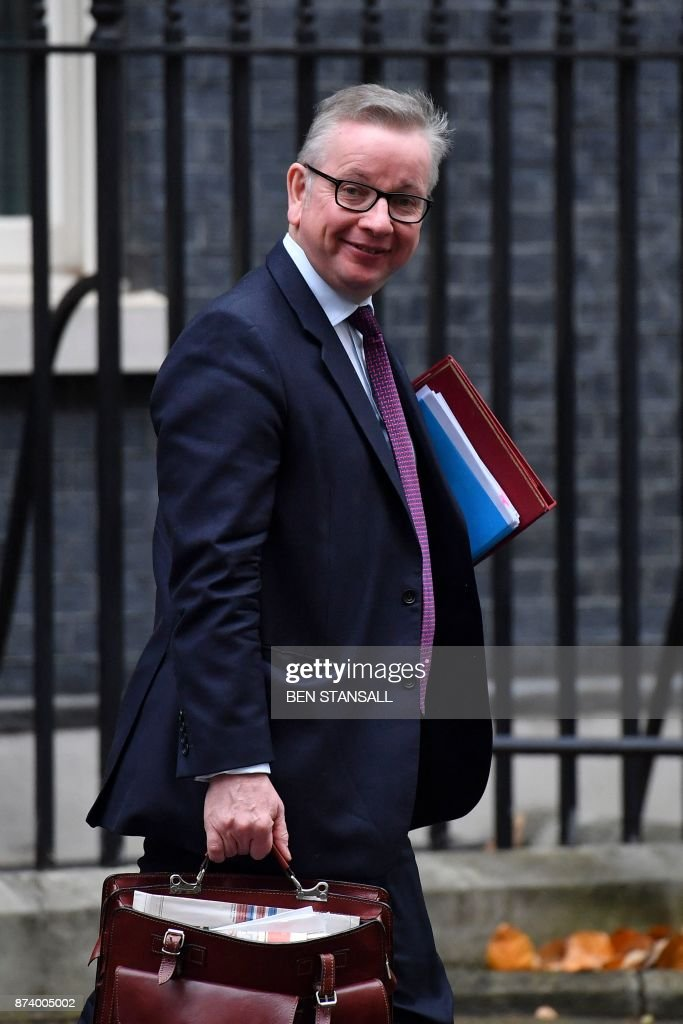 Britain's Environment, Food and Rural Affairs Secretary Michael Gove leaves 10 Downing Street after attending the weekly meeting of the Cabinet in central London on November 14, 2017. British Prime Minister Theresa May begins a major parliamentary battle over Brexit on Tuesday, facing competing demands by MPs to change her strategy as tensions rise among her scandal-hit ministers. MPs will have their first chance to scrutinise the EU Withdrawal Bill, which would formally end Britain's membership of the European Union and transfer four decades of EU legislation into UK law. / AFP PHOTO / Ben STANSALL