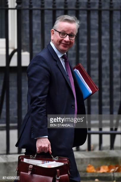 Britain's Environment Food and Rural Affairs Secretary Michael Gove leaves 10 Downing Street after attending the weekly meeting of the Cabinet in...
