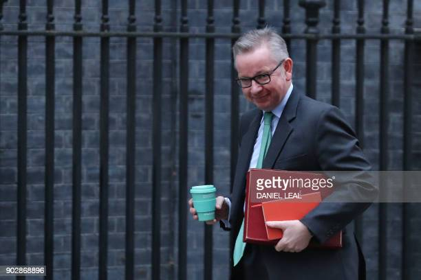 Britain's Environment Food and Rural Affairs Secretary Michael Gove arrives at 10 Downing street in central London for the first cabinet meeting of...