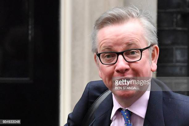 Britain's Environment Food and Rural Affairs Secretary Michael Gove arrives at Downing Street in central London on March 20 2018 for the weekly...