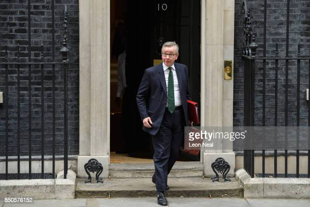 Britain's Environment Secretary Michael Gove leaves number 10 Downing Street following an extended Cabinet meeting on September 21 2017 in London...
