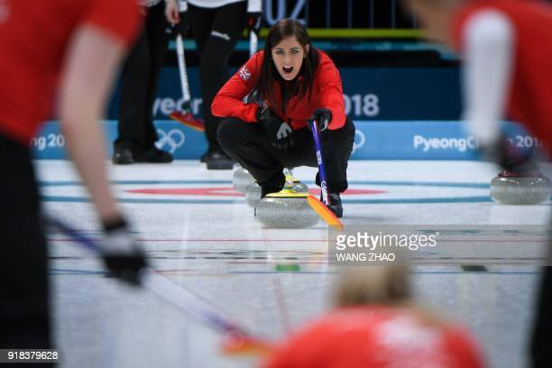Britain's Eve Muirhead shouts for the instructions during the curling women's round robin session between Britain and the US during the Pyeongchang...