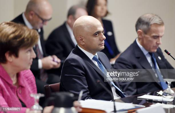 Britain's finance minister Sajid Javid looks on during a meeting between the Finance Ministers and Central Bank Governors of the G7 nations during...