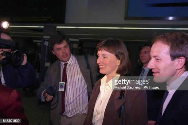 Britain's first astronaut Helen Sharman and her colleague Major Tim Mace arrive at Heathrow Airport from Moscow
