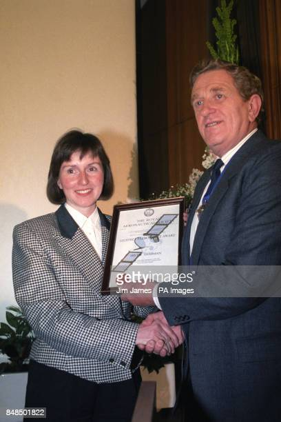 Britain's first astronaut Helen Sharman being presented with the Geoffrey Pardoe Award by the President of the Royal Aeronautical Society Gordon...