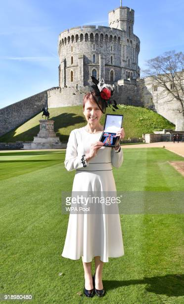 WINDSOR ENGLAND FEBRUARY FEBRUARY 16 Britain's first astronaut Helen Sharman holds her Companion of the Order of St Michael and St George medal that...