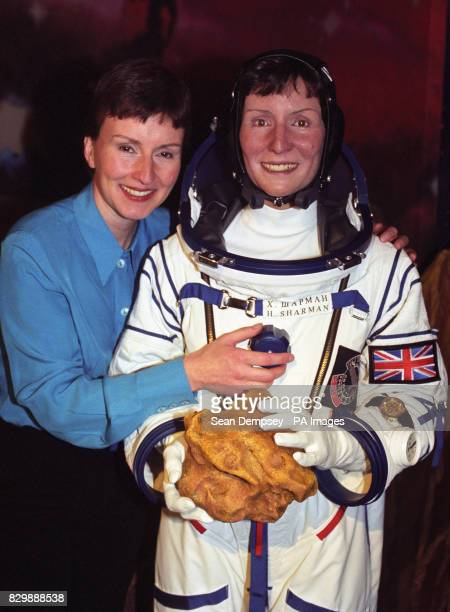 Britain's first astronaut Helen Sharman unveils her wax figure at The London Planetarium The figure modeled by sculptor Sue Kale is dressed in an...