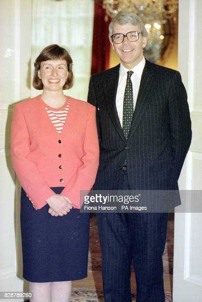 Britain's first astronaut Helen Sharman with Prime Minister John Major at 10 Downing Street
