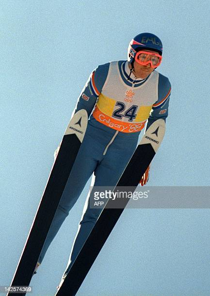 Britain's first ever Olympic jumper Eddie Edwards flies through the air during the XV Winter Olympics ski jump 90 meter event 23 February 1988 at...