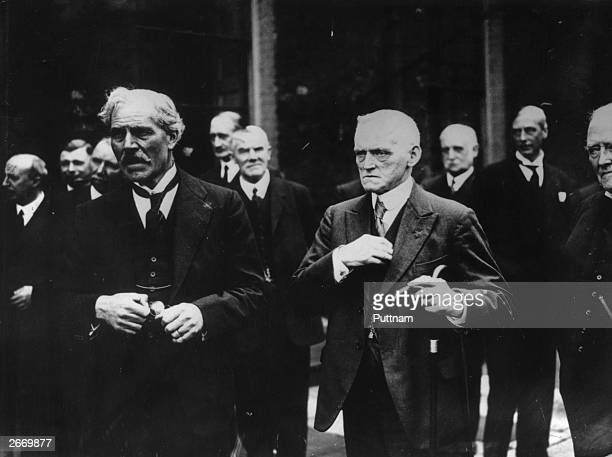 Britain's first Labour prime minister Ramsay MacDonald with the Chancellor of the Exchequer Philip Snowden at Downing Street in London Ramsay...