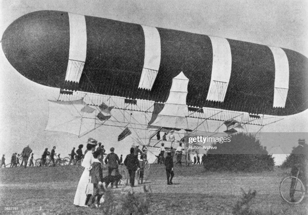 Britain's first military airship, 'Nulli Secundus', 110 ft in length, 28 ft in diameter. Suspended from the balloon by a network of cordage is a framework of bamboo and aluminium, from which hangs the canoe-shaped car. The vessel can easily attain a speed of 20 mph. Original Publication: 'Review of Reviews' - pub. 1907