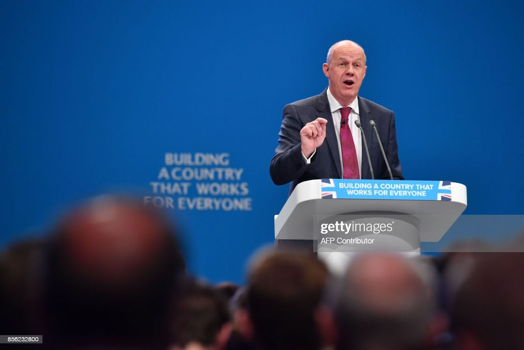Britain's First Secretary of State and Minister for the Cabinet Office, Damian Green addresses the delegates on the first day of the Conservative Party annual conference at the Manchester Central Convention Centre, in Manchester on October 1, 2017. British Prime Minister Theresa May's Conservative Party gathers on October 1, 2017, for its annual conference, dominated by questions about her leadership and splits on Brexit. / AFP PHOTO / Ben STANSALL