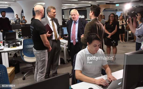 Britain's Foreign Minister Boris Johnson speaks with PayDock CEO Robert Lincolne British ConsulGeneral Michael Ward and Head of Tyro Fintech Hub...