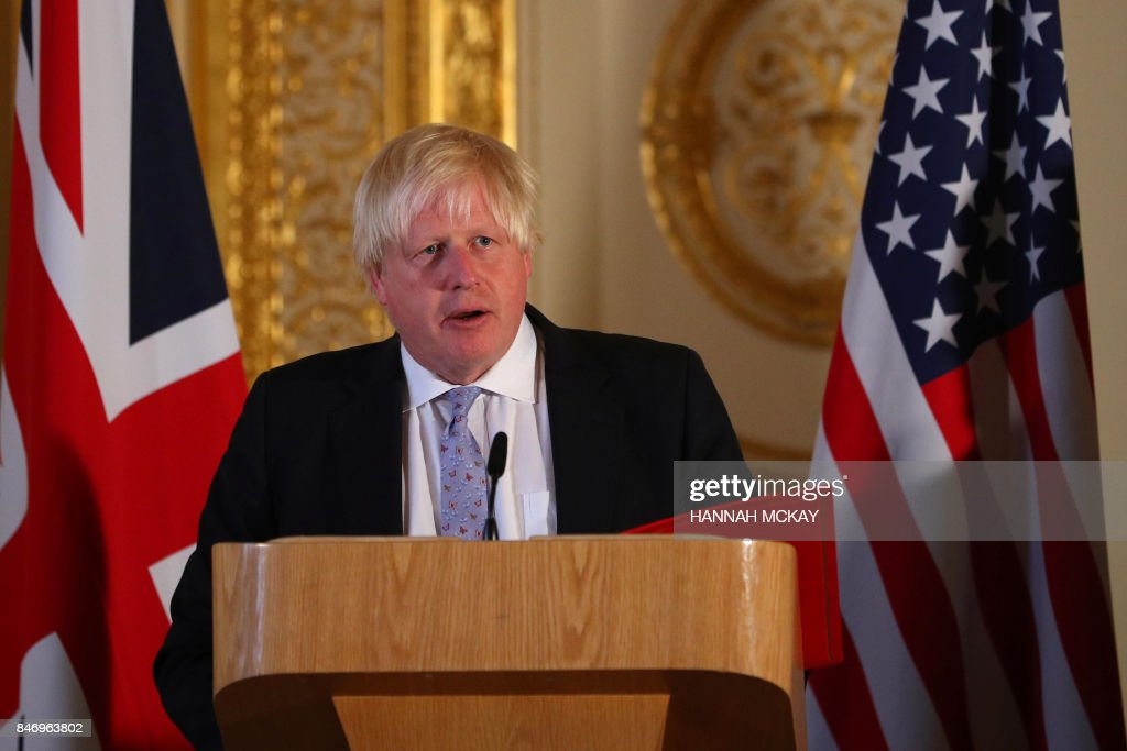 Britain's Foreign minister Boris Johnson takes part in a press conference after his meeting on Libya, at Lancaster House in London on September 14, 2017. /