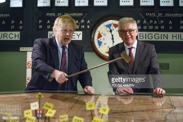 Britain's Foreign Secretary Boris Johnson and his Polish counterpart Jacek Czaputowicz visit a Battle of Britain bunker in Uxbridge west London on...