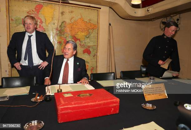 Britain's Foreign Secretary Boris Johnson and New Zealand's Foreign Minister Winston Peters visit the Cabinet War rooms in central London on the...