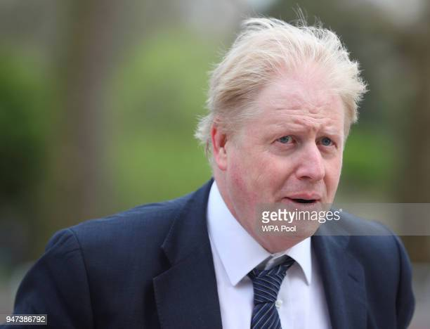 Britain's Foreign Secretary Boris Johnson arrives to greet New Zealand's Foreign Minister Winston Peters outside the Churchill Cabinet War rooms on...
