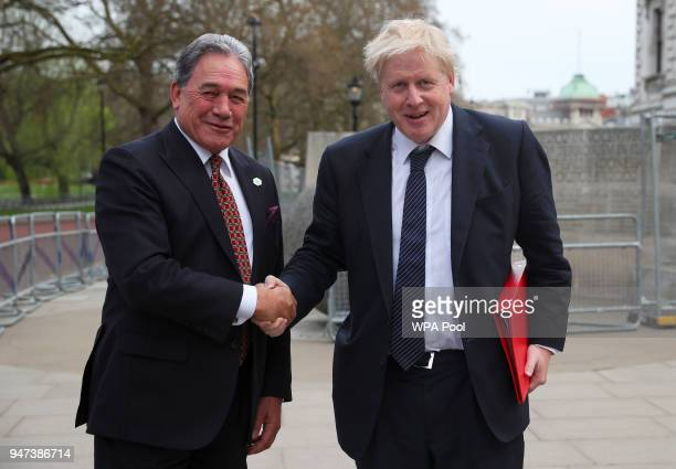 Britain's Foreign Secretary Boris Johnson greets New Zealand's Foreign Minister Winston Peters at the Churchill Cabinet War rooms on April 17 2017 in...