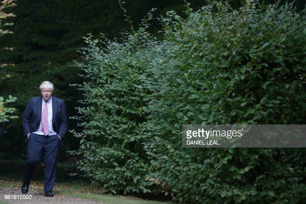 Britain's Foreign Secretary Boris Johnson is seen as he hosts European foreign ministers at his official residence Chevening House in southern...