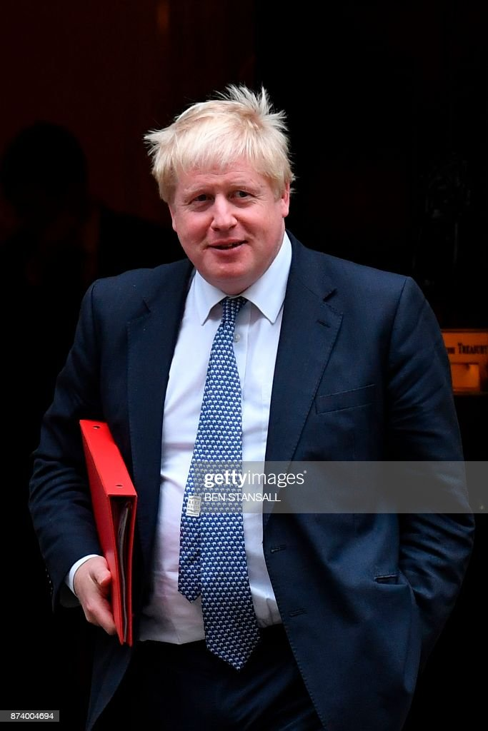 Britain's Foreign Secretary Boris Johnson leaves 10 Downing Street after attending the weekly meeting of the Cabinet in central London on November 14, 2017. British Prime Minister Theresa May begins a major parliamentary battle over Brexit on Tuesday, facing competing demands by MPs to change her strategy as tensions rise among her scandal-hit ministers. MPs will have their first chance to scrutinise the EU Withdrawal Bill, which would formally end Britain's membership of the European Union and transfer four decades of EU legislation into UK law. / AFP PHOTO / Ben STANSALL