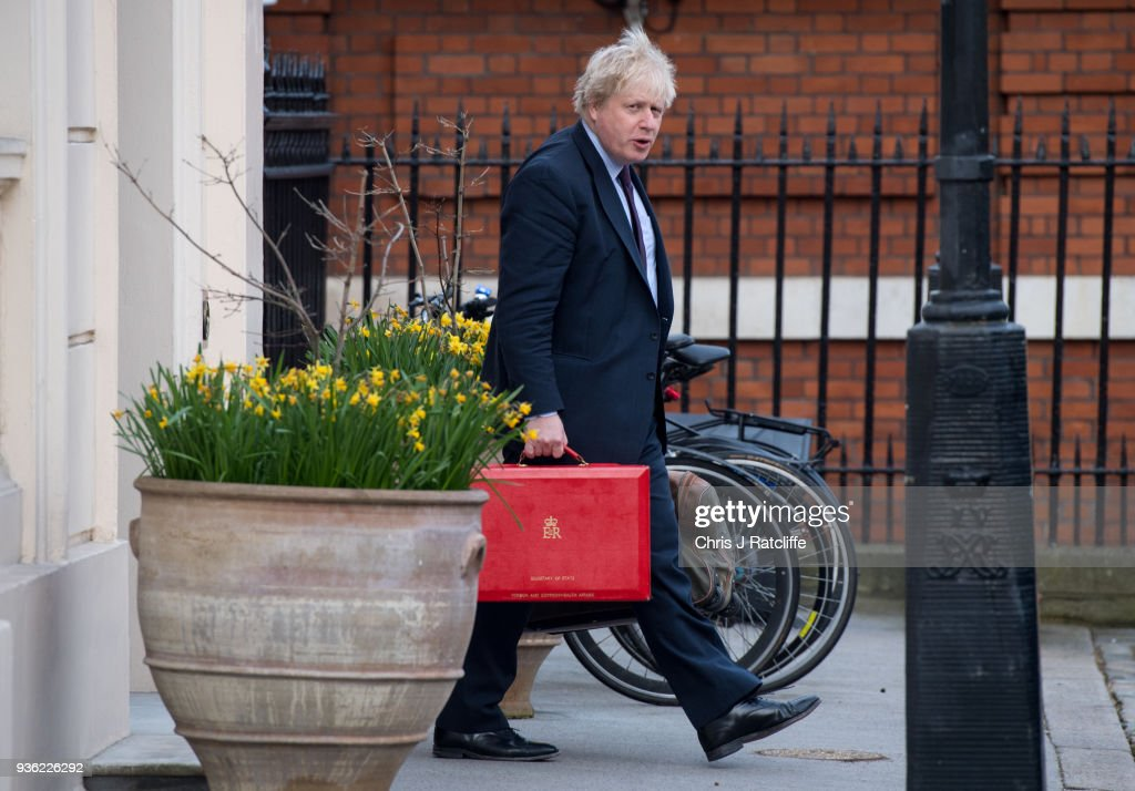 Boris Johnson Leaves His Home in London