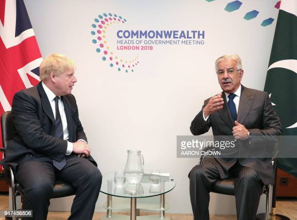 Britain's Foreign Secretary Boris Johnson meets Pakistan Foreign Minister Khawaja Muhammad Asif for bilateral talks in central London on April 17 on...