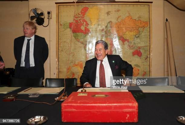 Britain's Foreign Secretary Boris Johnson meets with New Zealand's Foreign Minister Winston Peters in the Churchill Cabinet War rooms on April 17...
