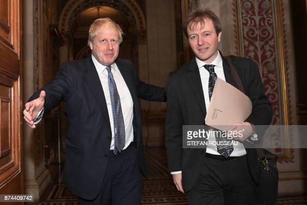 Britain's Foreign Secretary Boris Johnson meets with Richard Ratcliffe, the husband of British-Iranian woman Nazanin Zaghari-Ratcliffe who is jailed...