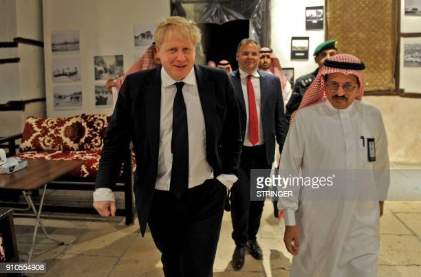 Britain's Foreign Secretary Boris Johnson visits the Nassif House in the historic quarter of Jeddah on January 25 2018 The Nassif house served as the...