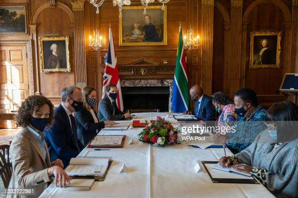 Britain's Foreign Secretary Dominic Raab and his delegation meet with South Africa's Minister of International Relations and Cooperation, Naledi...