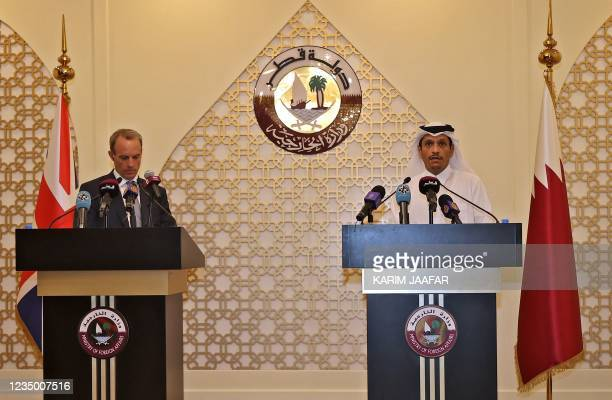 Britain's Foreign Secretary Dominic Raab and his Qatari counterpart Sheikh Mohammed bin Abdulrahman al-Thani, give a joint press conference in the...