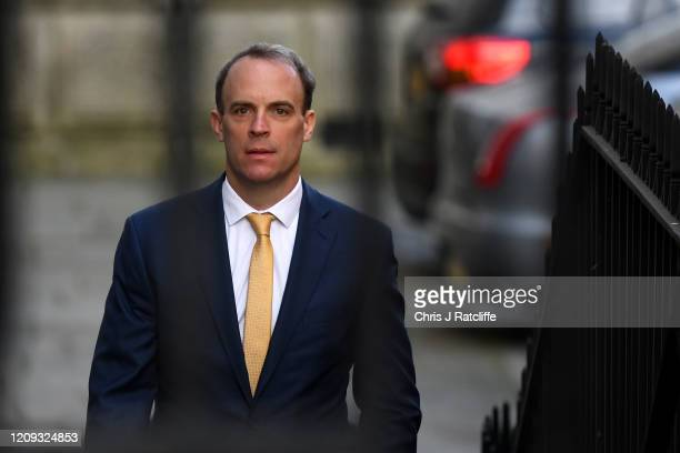 Britain's Foreign Secretary Dominic Raab arrives at 10 Downing Street for today's C19 committee meeting on April 7 2020 in London England Prime...