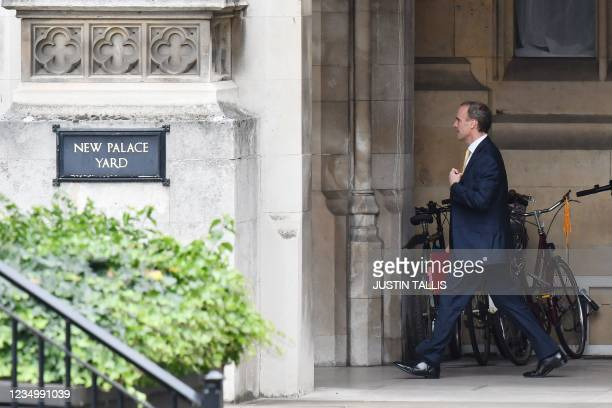 Britain's Foreign Secretary Dominic Raab arrives at the Houses of Parliament in London on September 1, 2021 ahead of his appearance before the UK...