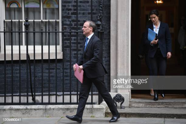 Britain's Foreign Secretary Dominic Raab leaves number 10 Downing street in central London after the daily Covid19 briefing on April 15 2020 The new...