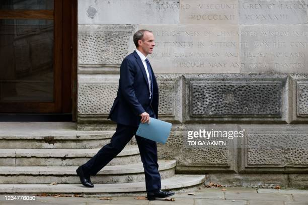 Britain's Foreign Secretary Dominic Raab leaves the Foreign, Commonwealth and Development Office headed for Downing Street in central London on...