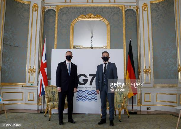 Britain's Foreign Secretary Dominic Raab poses for a photo with his German counterpart Heiko Maas ahead of bi-lateral talks during the G7 foreign...