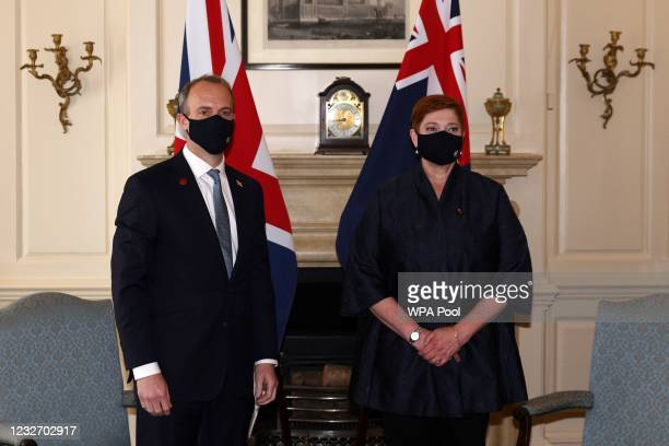 Britain's Foreign Secretary Dominic Raab poses with Australia's Foreign minister Marise Payne on the sidelines of the G7 foreign ministers meeting on...
