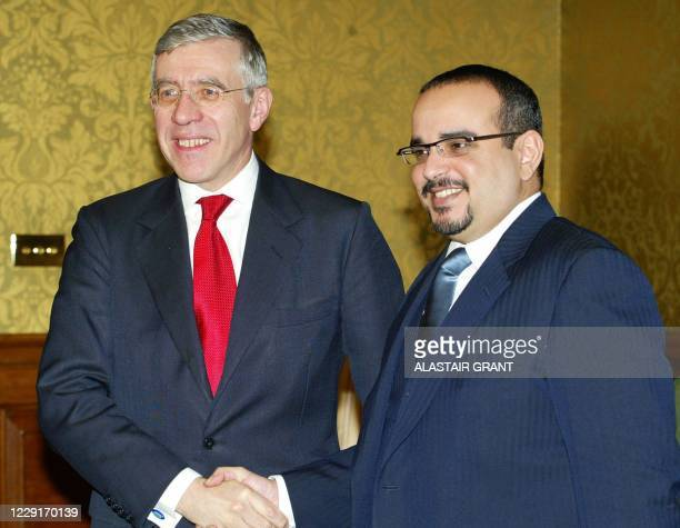 Britain's Foreign Secretary Jack Straw, , welcomes the Crown Prince of Bahrain, Sheikh Salman Bin Hamad Al Khalifa, for talks at the Foreign Office...