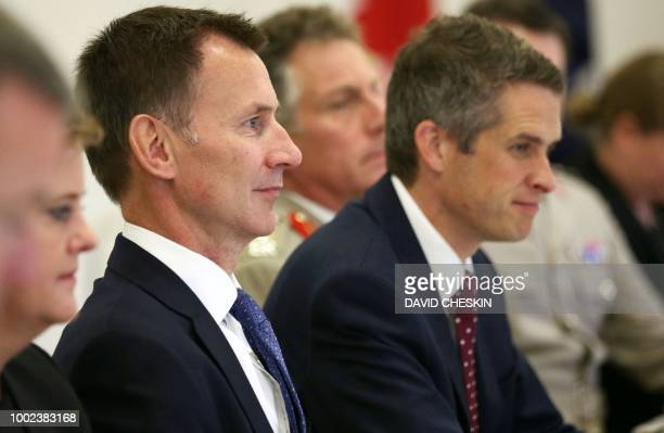 Foreign Secretary Jeremy Hunt with Australian Foreign Minister Julie Bishop and Defence Minister Marise Payne for the annual UKAustralian ministerial...