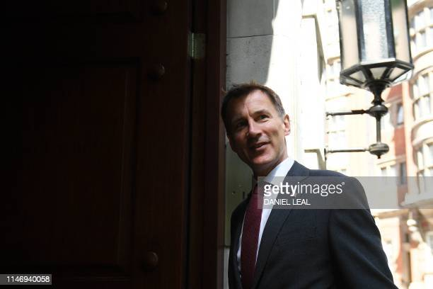 Britain's Foreign Secretary Jeremy Hunt arrives at Millbank broadcast studios in London on May 30, 2019. - The race to become Britain's next premier...