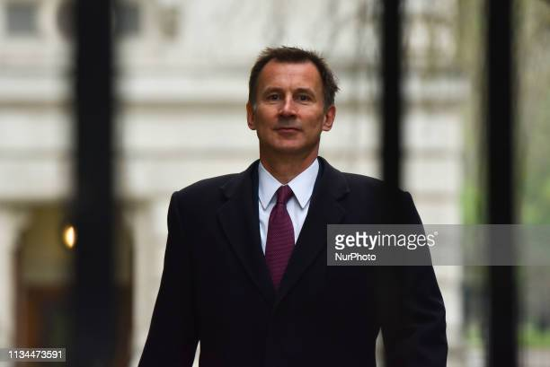 Britain's Foreign Secretary Jeremy Hunt arrives in Downing street London for a cabinet meeting on April 2 2019 The British cabinet is gathering today...