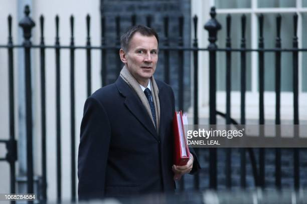 Britain's Foreign Secretary Jeremy Hunt attends the weekly meeting of the cabinet at 10 Downing Street in London on December 4 2018