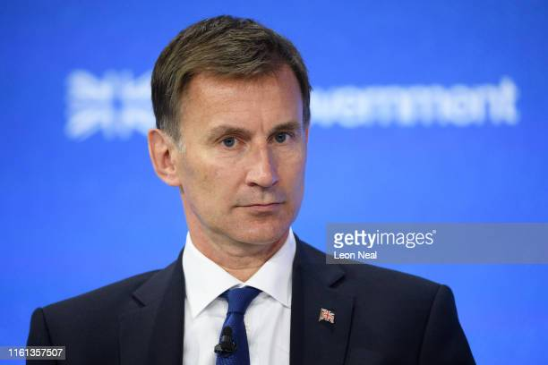 Britain's Foreign Secretary Jeremy Hunt is seen onstage during day two of the Global Conference on Press Freedom on July 11 2019 in London England...