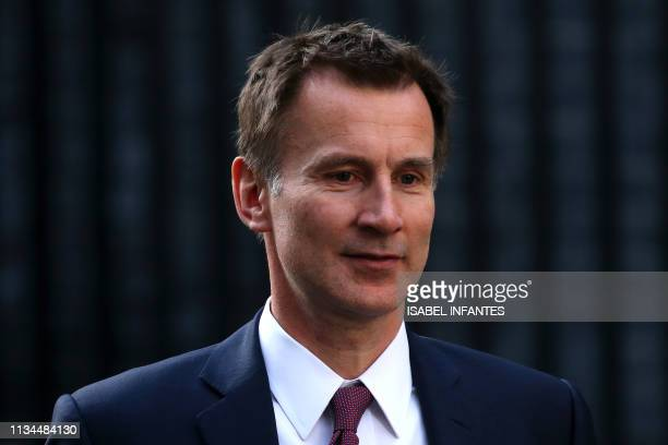 Britain's Foreign Secretary Jeremy Hunt leaves from 10 Downing Street after attending a Cabinet meeting in London on April 2 2019 Prime Minister...