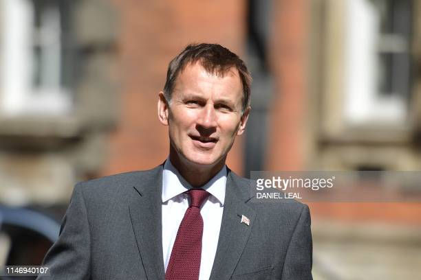 Britain's Foreign Secretary Jeremy Hunt leaves Millbank broadcast studios in London on May 30, 2019. - The race to become Britain's next premier has...