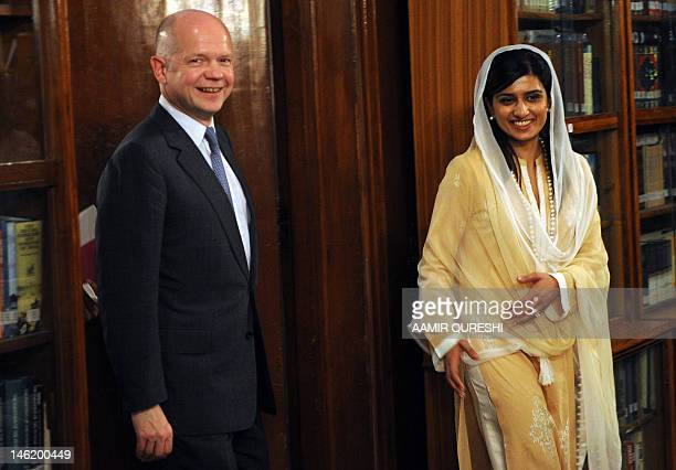 Britain's Foreign Secretary William Hague arrives for a meeting with Pakistan's Foreign Minister Hina Rabbani Khar in Islamabad on June 12 2012 Hague...