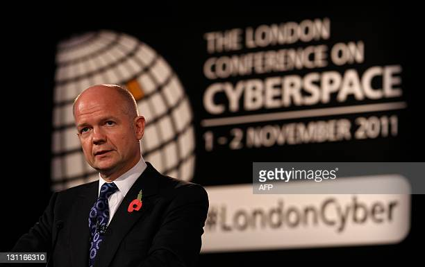 Britain's Foreign Secretary William Hague speaks at the conclusion of the London Cyberspace Conference in London November 2 2011 Britain and the...